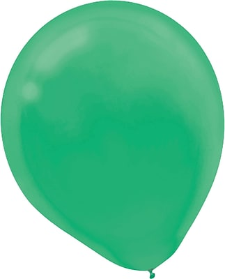 Amscan Solid Color Latex Balloons Packaged, 9'', 18/Pack, Festive Green, 20 Per Pack (113255.03)