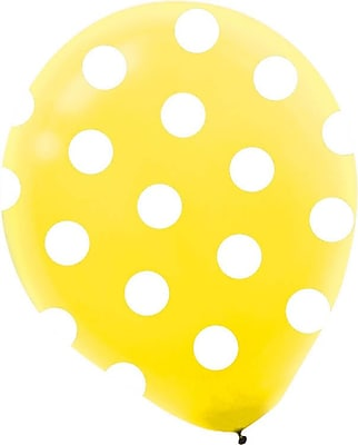 Amscan Bright Colored Dots Latex Balloons, 12'', 3/Pack, Assorted, 20 Per Pack (115498)