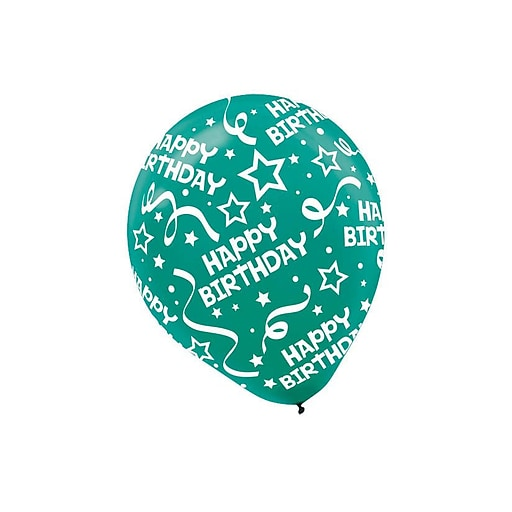 """Amscan Birthday Confetti Latex Balloons, 12"""", Bright Assorted Colors, 3/Pack, 20 Per Pack (115504)"""