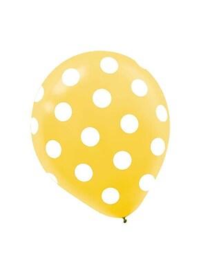 Amscan Polka Dot Latex Balloons, 12'', 9/Pack, Yellow, 6 Per Pack (115700.09)