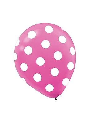 Amscan Latex Balloons, 12''L, Bright Pink Polka