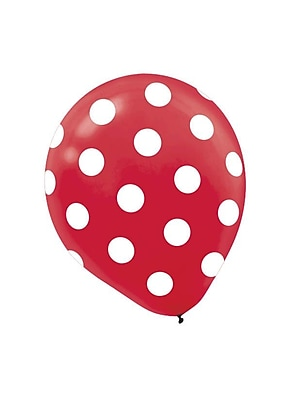 Amscan Polka Dot Latex Balloons, 12'', 9/Pack, Red, 6 Per Pack (115700.4)
