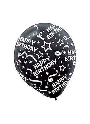 Amscan Birthday Confetti Latex Balloons, 12''L, Black,