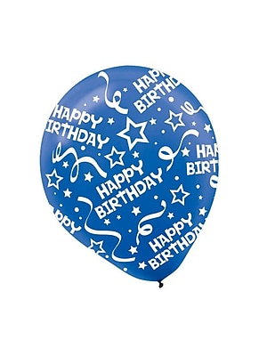 Amscan Birthday Confetti Latex Balloons, 12'', Bright
