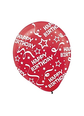 Amscan Birthday Confetti Latex Balloons, 12'', 9/Pack,