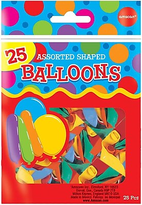 Amscan Assorted Shaped Latex Balloons, 18