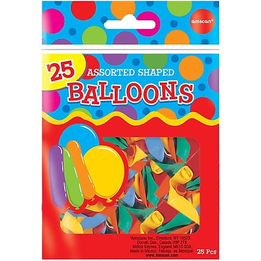 """Amscan Assorted Shaped Latex Balloons, 18"""", Assorted Colors, 12/Pack, 25 Per Pack (115914)"""