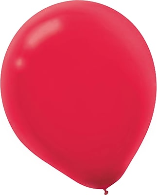 Amscan Solid Color Latex Balloons Packaged, 5'', 6/Pack, Apple Red, 50 Per Pack (115920.4)