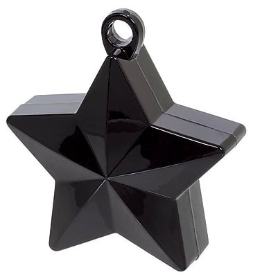 Amscan Star Foil Balloon Weights, 6oz, Black, 12/Pack (117800.10)