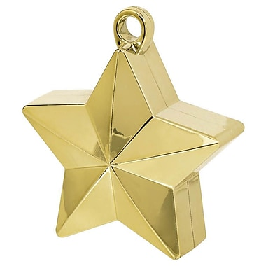Amscan Star Foil Balloon Weights, 6oz, Gold, 12/Pack (117800.19)