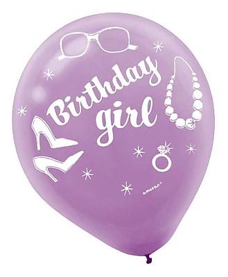 Amscan Birthday Girl Latex Balloons; 12'', 9/Pack, 6 Per Pack (119379)