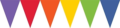 Amscan Paper Pennant Banner, 15', Rainbow, 6/Pack