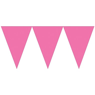 Amscan Paper Pennant Banner, 15', Bright Pink, 6/Pack (120099.103)
