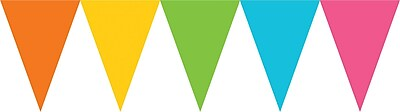 Amscan Paper Pennant Banner, 15', Multicolored, 6/Pack