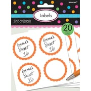 "Amscan Scalloped Paper Label Stickers, 2"", Orange Peel, 16/Pack, 5 Per Pack (157750.05)"