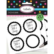 Amscan Scalloped Paper Label Stickers, 2'', Black, 16/Pack, 5 Per Pack (157750.1)