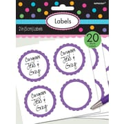 Amscan Scalloped Paper Label Stickers, 2'', Purple, 16/Pack, 5 Per Pack (157750.106)