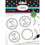 Amscan Scalloped Paper Label Stickers, 2'', Silver, 16/Pack, 5 Per Pack (157750.18)