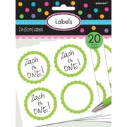 Amscan Scalloped Paper Label Stickers, 2''L, Kiwi, 16/Pack, 5 Per Pack (157750.53)