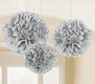 Amscan Fluffy Decorations, 16'', 13'', 9'', Silver, 3/Pack, 3 Per Pack (180025)