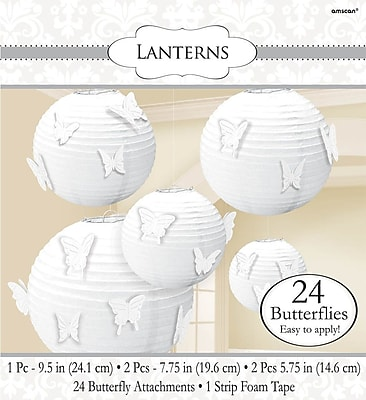 Amscan Paper Lanterns with Butterfly Attachments, White, 2/Pack, 5 Per Pack (248199.08)