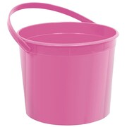 Amscan Plastic Bucket, 6.25'', Bright Pink, 12/Pack (268902.103)