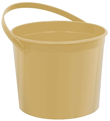 Amscan Plastic Bucket, 6.25'', Gold, 12/Pack (268902.19)