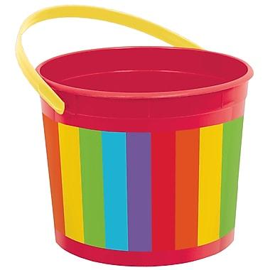 Amscan Plastic Bucket, 6.25'', Rainbow, 12/Pack (268902.9)