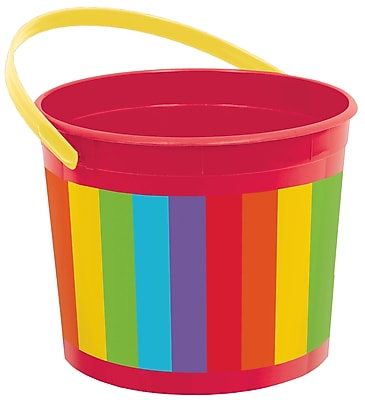 Amscan Plastic Bucket, 6.25'', Rainbow, 12/Pack (268902.9)