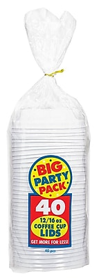 Amscan Big Party Pack Plastic Lids, 3.5''W, 5/Pack, 40 Per Pack (350054.08)