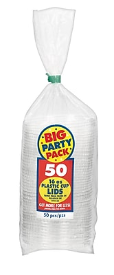 Amscan Big Party Pack Plastic Cup Lids, 12oz, Clear, 4/Pack, 50 Per Pack (350090.86)