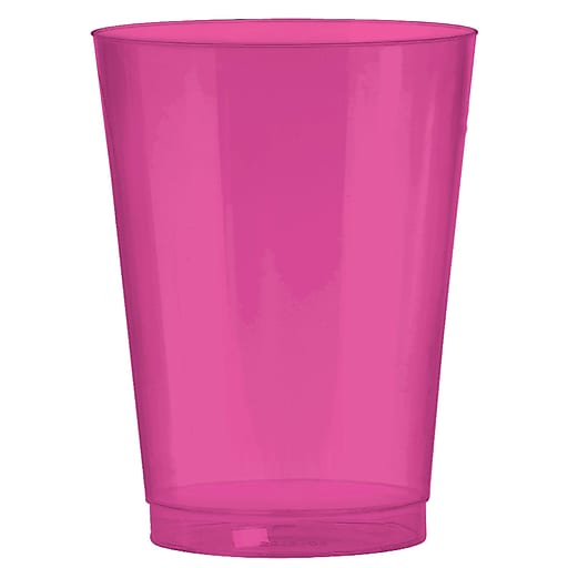 Amscan Big Party Pack 10oz Bright Pink Plastic Cups, 2/Pack, 72 Per Pack (350363.103)