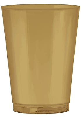 Amscan 10oz Gold Big Party Pack Plastic Cups, 2/Pack, 72 Per Pack (350363.19)