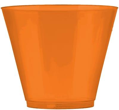 Amscan Big Party Pack 9oz Orange Plastic Cups, 2/Pack, 72 Per Pack (350366.05)