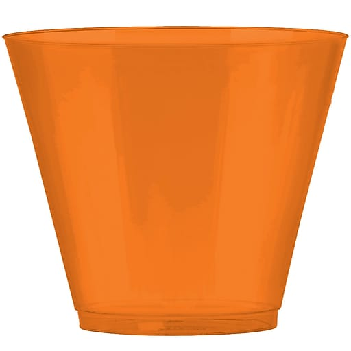 Amscan Big Party Pack 9oz Orange Plastic Cups, 2/Pack, 72 Per Pack (350366.05)