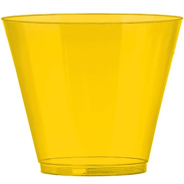 Amscan Big Party Pack 9oz Yellow Plastic Cups, 2/Pack, 72 Per Pack (350366.09)
