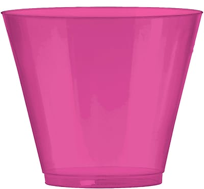 Amscan 9oz Bright Pink Big Party Pack Plastic Cups, 2/Pack, 72 Per Pack (350366.103)