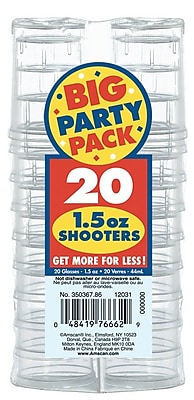 Amscan Clear Plastic Shooter, 8/Pack, 20 Per Pack (350367.86)