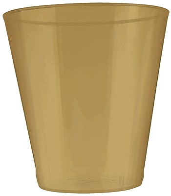 Amscan 2oz Gold Big Party Pack Plastic Shot Glasses, 3/Pack, 100 Per Pack (357918.19)