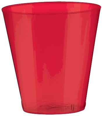 Amscan Big Party Pack Plastic Shot Glasses, 2oz, Apple Red, 3/Pack, 100 Per Pack (357918.4)