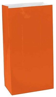 Amscan Mini Paper Bags, 6.5''H x 3''W x 2''D, Orange Peel, 9/Pack, 12 Per Pack (370202.05)