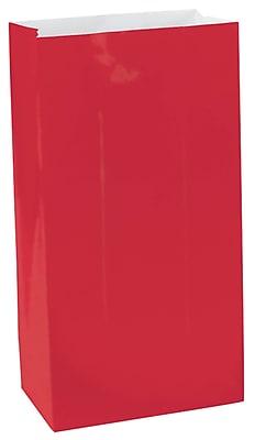 Amscan Mini Paper Bags, 6.5''H x 3''W x 2''D, Apple Red, 9/Pack, 12 Per Pack (370202.4)
