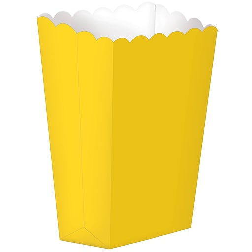 "Amscan Paper Popcorn Boxes, 5.25""H x 2.5""W, Yellow, 12/Pack, 5 Per Pack (370221.09)"