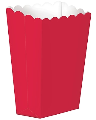 Amscan Paper Popcorn Boxes, 5.25''H x 2.5''W, Red, 12/Pack, 5 Per Pack (370221.4)