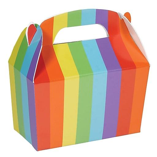"Amscan Gable Boxes, 5.5""H x 2.38""W x 4.5""D, Rainbow, 24/Pack (395128.9)"