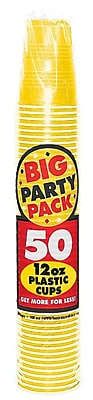Amscan Big Party Pack 12oz Sunshine Yellow Cups, 5/Pack, 50 Per Pack (436800.09) 1970939