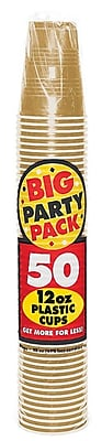 Amscan 12oz Gold Big Party Pack Cup, 5/Pack, 50 Per Pack (436800.19)