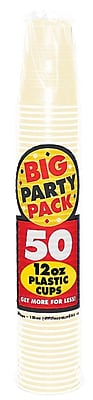 Amscan Big Party Pack 12oz Vanilla Creme Cup, 5/Pack, 50 Per Pack (436800.57)