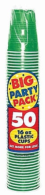 Amscan 16oz Festive Green Big Party Pack Cup, 5/Pack, 50 Per Pack (436801.03)