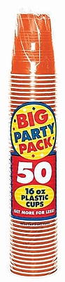Amscan Big Party Pack 16oz Orange Cup, 5/Pack, 50 Per Pack (436801.05) 1970962